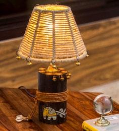 Brown Jute Shade Log Madhubani Hand Painted Table Lamp