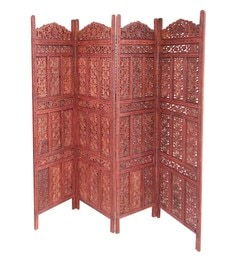 Brown Mango Wood Hand Carved Partition Screen - 1538657