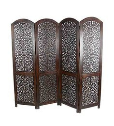 Brown MDF Mango Wood Contemporary Folding Room Divider