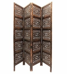 Brown MDF & Mango Wood Handcrafted Partition Screen - 1538659