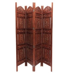 Brown MDF & Mango Wood Handcrafted Partition Screen - 1538656