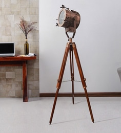 Brown Metal Floor Tripod Lamp - 1711244