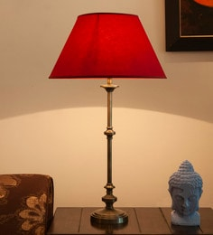 Brown Mild Steel Antique Table Lamp