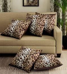 Brown/Multicolor Velvet Leopard Digital Print Set Of 5 Cushion Covers