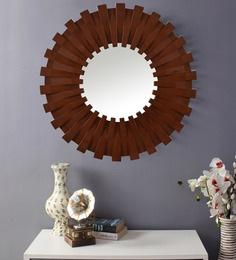 Brown Plastic Decorative Sun Shape Wall Mirror