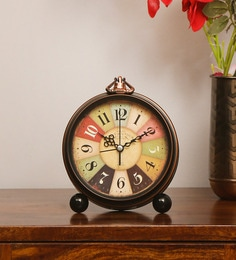 3ee80fb8214 Brown Plastic Round Classic Table Clock