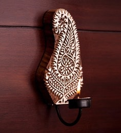 Brown Sheesham Wood Hand Engraved Wall Tea Light Holder