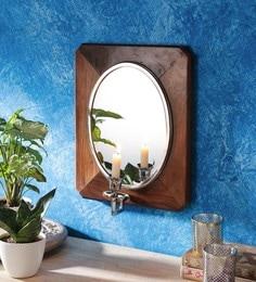Brown Sheesham Wood Nickel Eclectic Mirrors