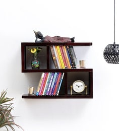 Brown Sheesham Wood Wall Shelf - 1668461