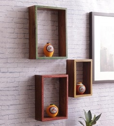 Brown Sheesham Wood Wall Shelves - Set Of 3