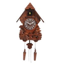 brown wood 117 x 51 x 187 inch hut shape cuckoo clock