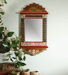 Brown Wood Warli Painted Wall Mirror