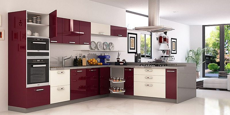 Buy Spacewood Island Kitchen In Ply Acrylic Finish In Olive