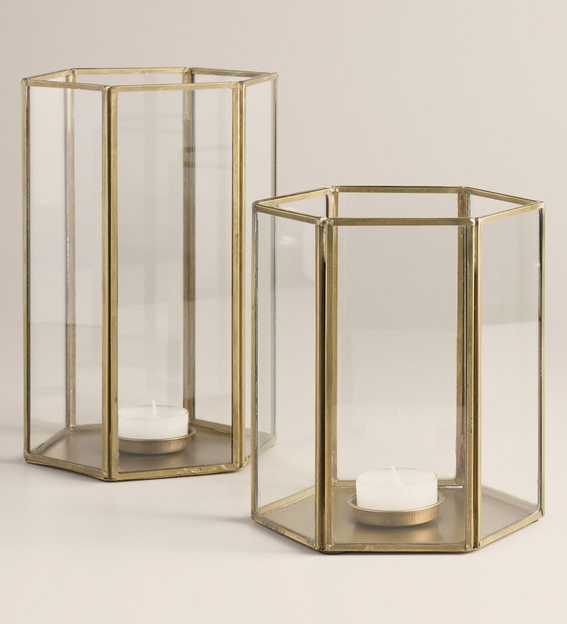 Brass Faceted Candle Holder by Qesyas