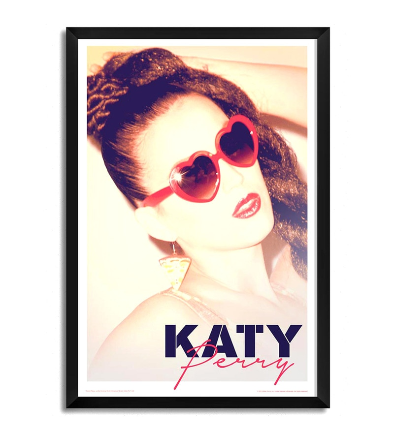 Fibre with Wood Texture 13 x 19 Inch Katy Perry in Sunglasses Framed Posters by Bravado