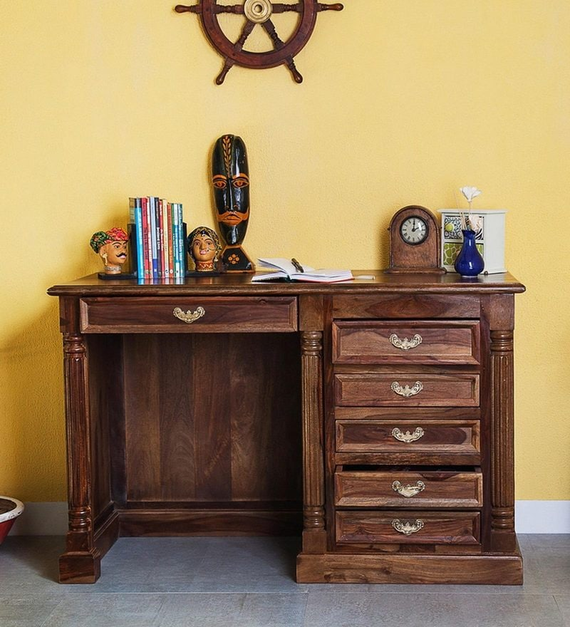 Brockway Study Table in Provincial Teak Finish by Amberville