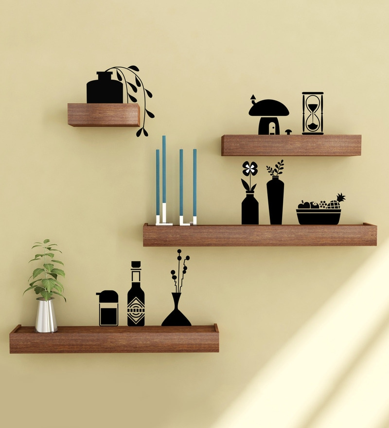 Buy Metal Frame with Solid Wood 2 Tier Decorative Wall Shelf in ...