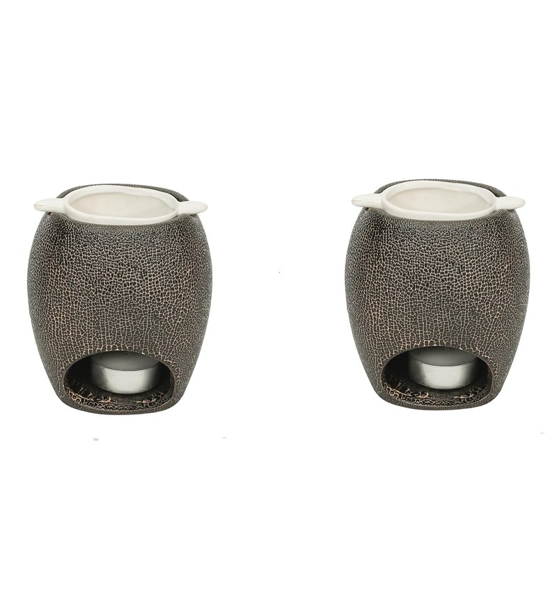Brown & Off White Cermaic Seneo Essential Oil Diffuser Burner - Set of 2 by MICASA