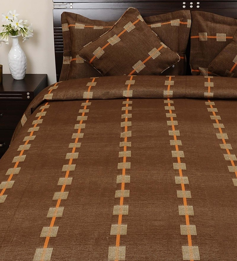 Brown 100% Cotton Queen Size Bed Cover - Set of 5 by Soumya