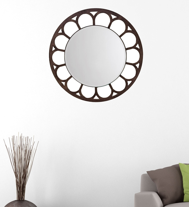 Brown 14.5 x 0.5 x 14.5 Inch Sunflower Mirror by Height of Designs