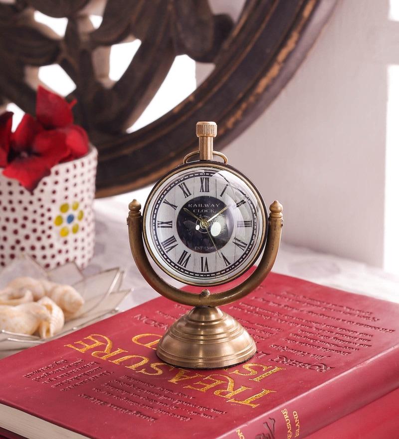 Brown Brass & Acrylic Table Clock