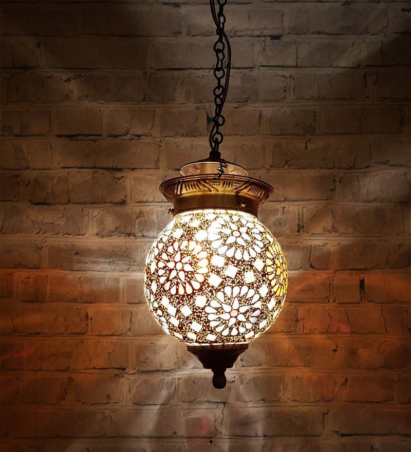 Transpa Br Gl Bell Jar Hanging Lantern By