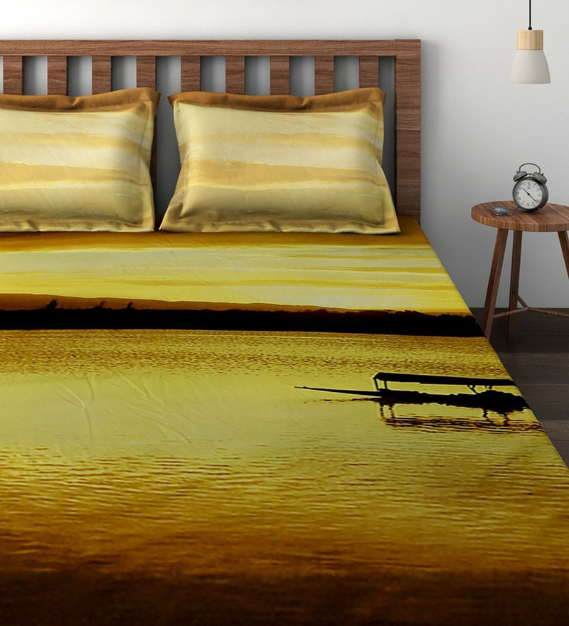 Brown Cotton 100 x 108 Inch Scenic View Bedsheet - Set of 3 by Raymond Home