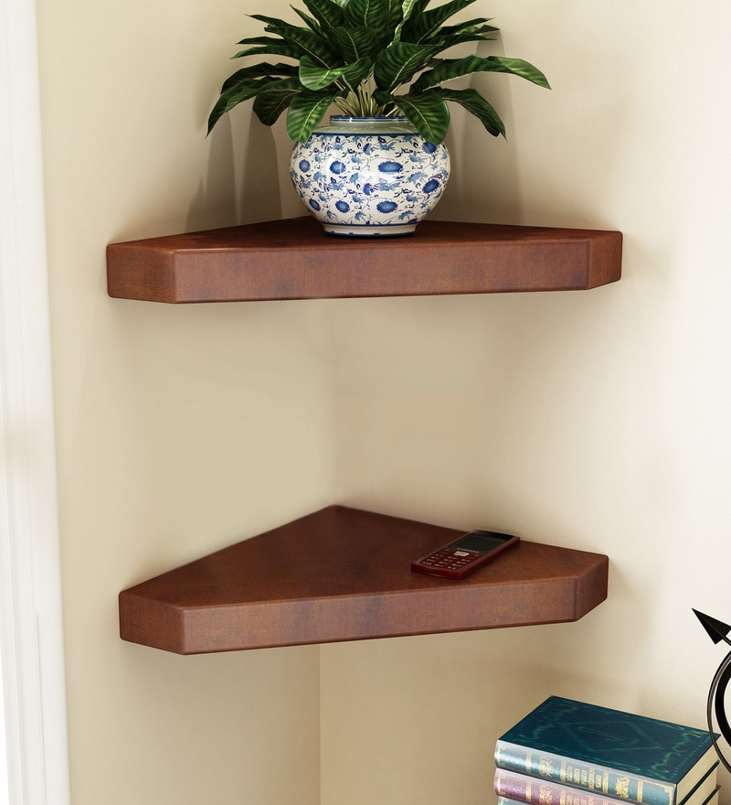 Brown Engineered Wood Corner Wall Shelves - Set of 2 by Home Sparkle
