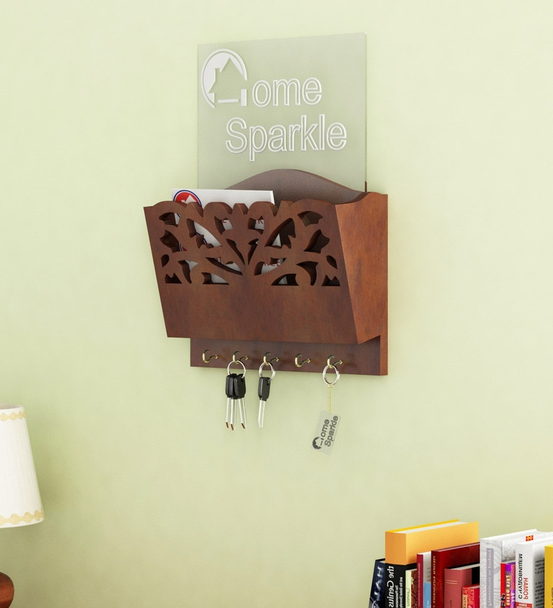 Brown Engineered Wood Letter Rack Cum Key Holder by Home Sparkle