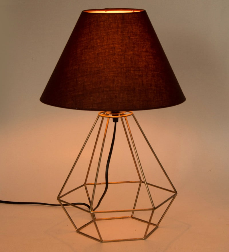 Brown Fabric Table Lamp by Tezerac