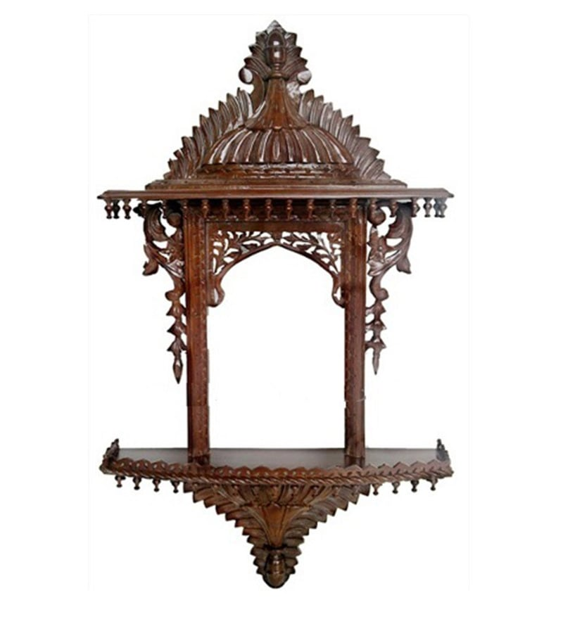 Brown Handcrafted Wooden Beautiful Traditional Jharokha by Aarsun