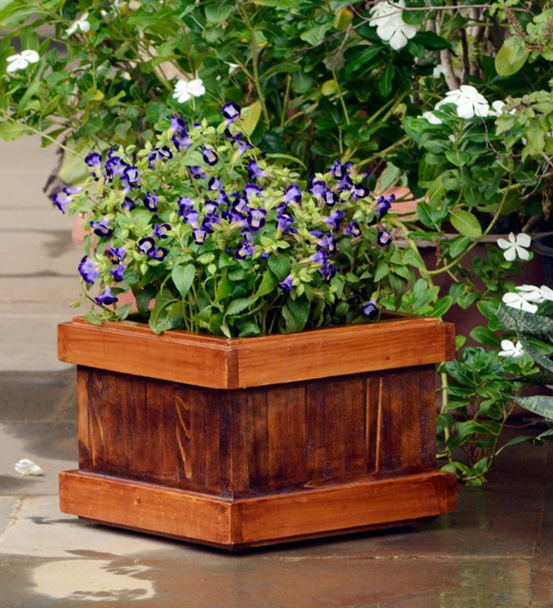 Brown Handmade Box Wooden Planter by Point of Hue