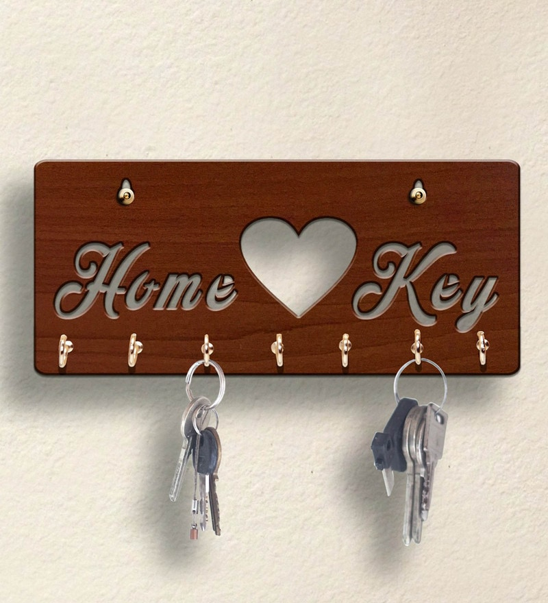 Brown Home Wooden 7 Hooks Key Holder by Sehaz Artworks