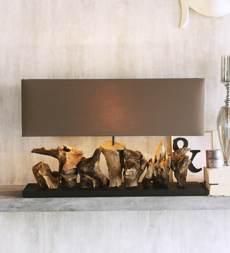 Brown Linen Aragon Grand Table Lamp by Jainsons Emporio