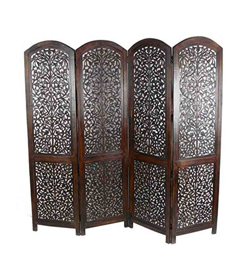 Brown MDF & Mango Wood Contemporary Folding Room Divider by Aarsun Woods