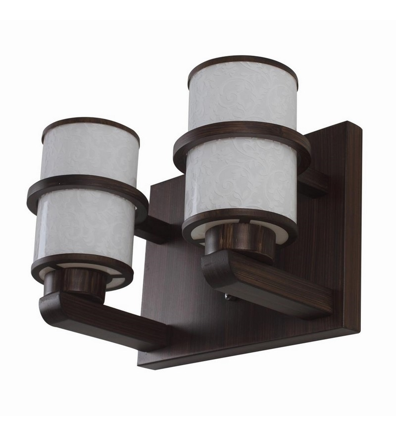 Brown Mild Steel and Wood Wall Light by LeArc Designer Lighting