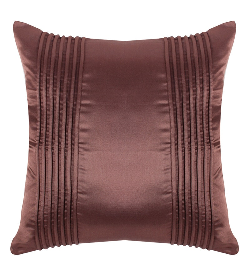 Brown Polyester 16x16 Inch Cushion Cover by Vista Home Fashion