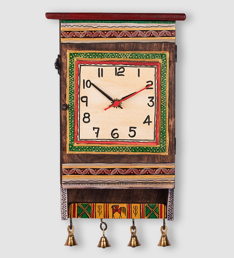 Brown Recycled Wood Warli Handpainted  Wall Clock by ExclusiveLane