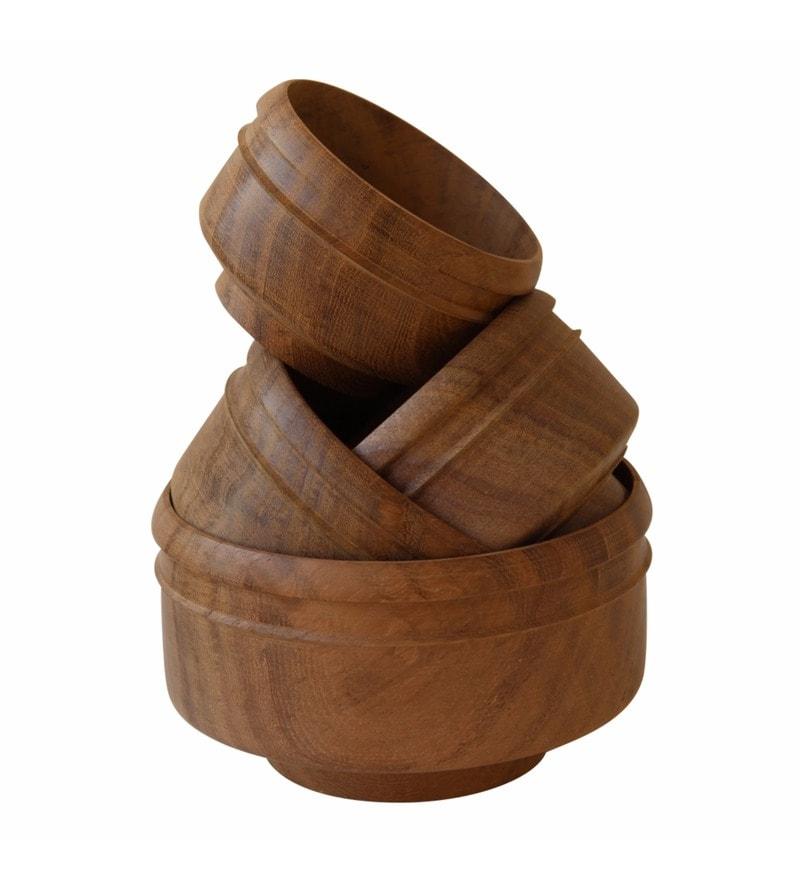 Brown Rohida Wood Bowls - Set of 4 by De Kulture Works