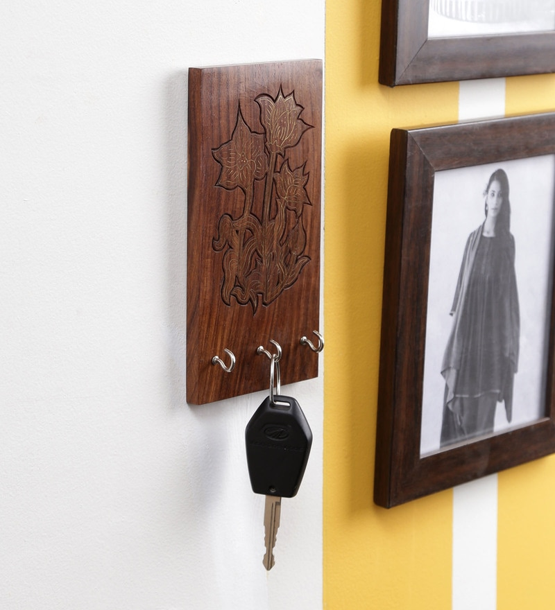 Brown Sheesham Wood Hand Carving Key Holder by Dream Arts