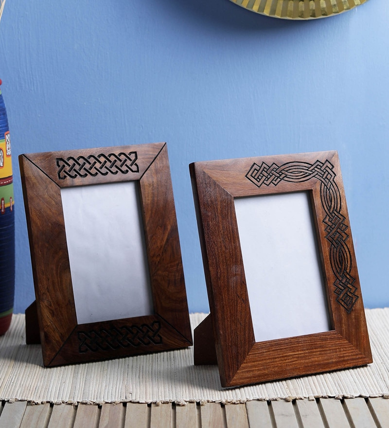 Brown Sheesham Wood Photo Frames by VarEesha - Set of 2