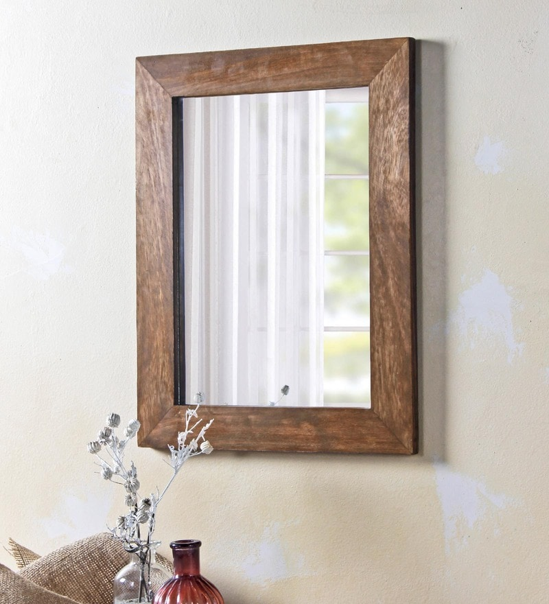 Brown Solid Wood & Glass Camrian Mirror by Fabuliv