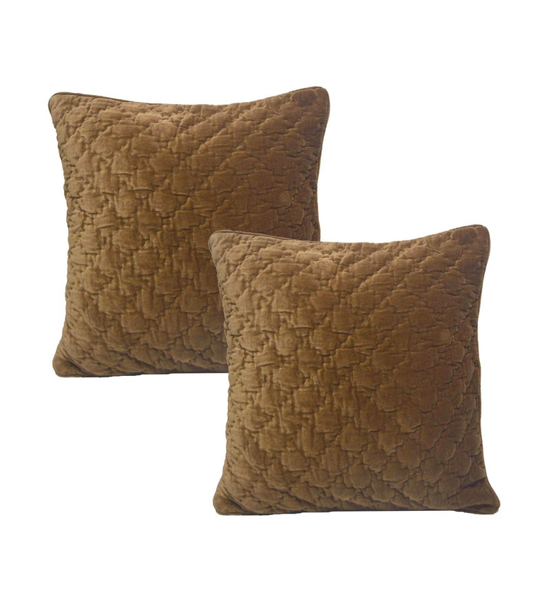 Brown Velvet 20 x 20 Inch Cushion Covers - Set of 2 by R Home