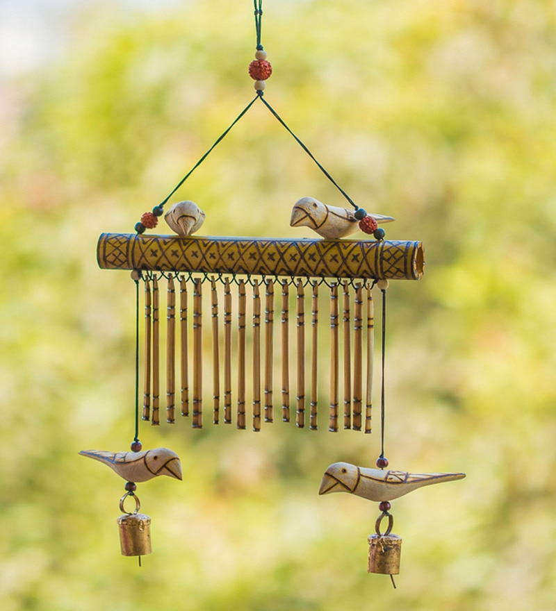 Brown Wood & Copper Bird Collection Handmade Decorative Hanging With Hand Burnt Design by ExclusiveLane