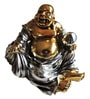 Bronze & Silver Polyresin Laughing Buddha by Browse House