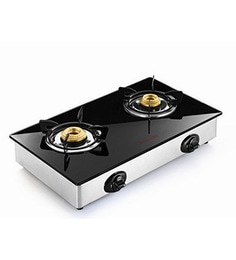 Butterfly Stainless Steel Grand 2 Burner Glass Top Gas Stove