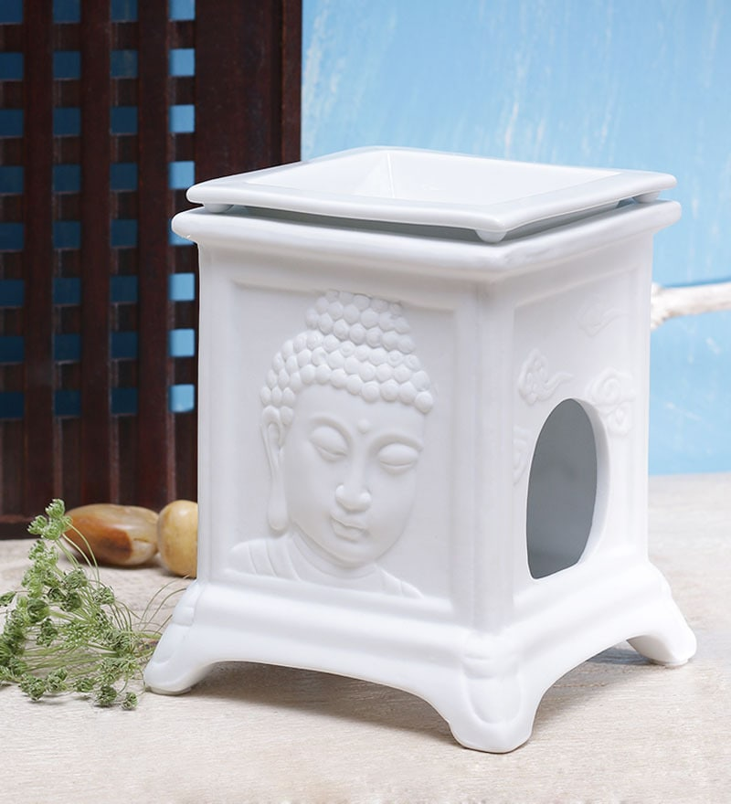 Buddha Face Decorative Stand Oil Burner by Importwala.com