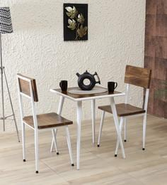 Cafelectic Table Set With 2 Chairs In Provincial Teak & White Frame