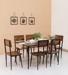 Cafelectic Table Set With 6 Chairs In Provincial Teak & Black Frame