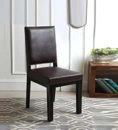 Caprica Dining Chair In Dark Brown Leatherette